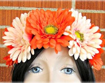Orange & Peach Flower Crown, Floral Crown, Flower Halo, Flower Headband, Floral Headband, Daisy Crown, Flower Wreath, Wedding, Festivals