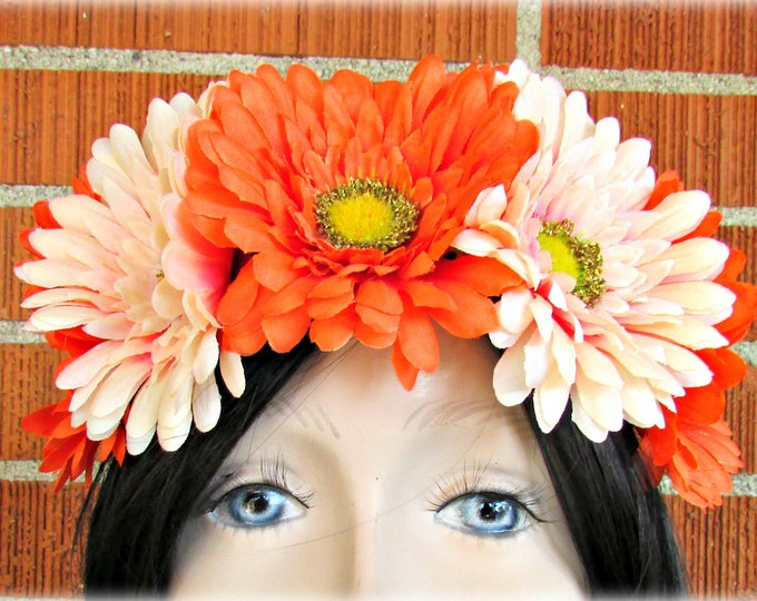Orange & Peach Flower Crown, Floral Crown, Flower Halo, Flower Headband, Floral Headband, Daisy Crown, Flower Wreath, Wedding, Festivals
