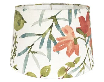 Tapered Lamp Shade - Floral Lampshade - Fabric Lamp Shade - Gazebo by Braemore Umber Coral Citrine Green Teal