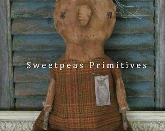 Extreme Primitive Folk Art Autumn Fall Pumpkin Doll Wool Dress Owl Tag Real Pumpkin Stem ~ Sweetpeas Primitives