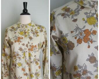 1950's Cream Floral Blouse// Peter Pan Collar// Harvest Hues// Shirtmaker
