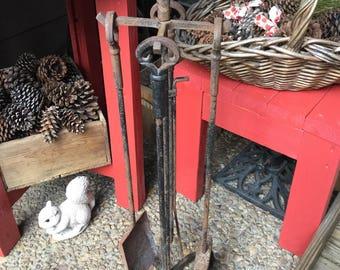 Five Piece Old Heavy Wrought Iron Fireplace Tool/Poker Set-Indoor/Outdoor