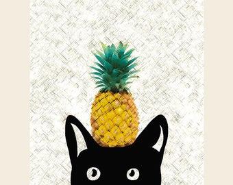 Pineapple Print, Cat Print, Ananas Print, Black Cat Art, Tropical Summer Home Decor, Cool Posters, Modern Decor 8x10in