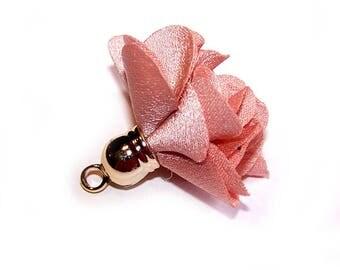 TASSEL SATIN flower 27 mm BEIGE pink cap Golden jewelry