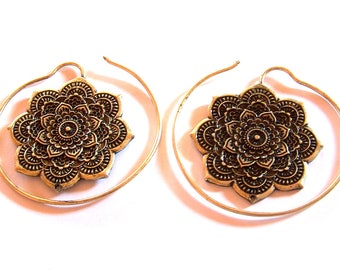 ETHNIC earrings spiral MANDALA in metal bronze