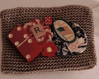 """Up-cycled Change Purse with Vintage Adornment - """"Patriotic Pretty"""""""