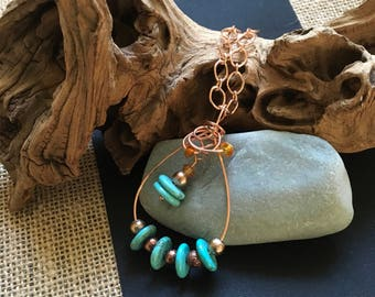 Copper turquoise and pearl necklace