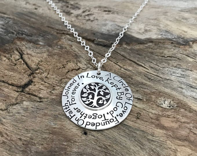 Sterling Silver Family Tree Necklace, Mothers Day Gift Idea for Her, Children's names, Personalized Mothers, Tree Pendant,Family Phrase