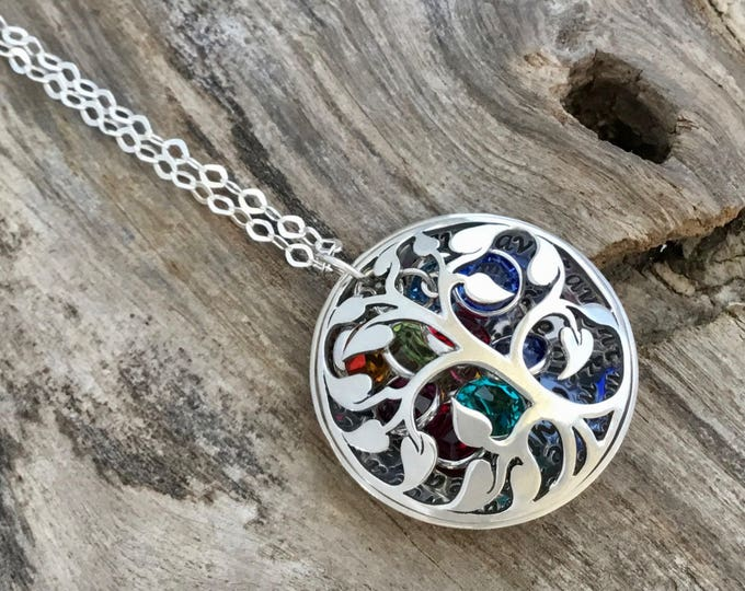 Family Tree Necklace | Personalized Mother's Necklace | Silver Tree Necklace| Grand mom's Necklace|Tree of Life|Gift for Mom|Sterling Silver
