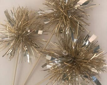 12 Pcs Tinsel Gold -Mettalic Gold Stirrers- Skewer Stick- Birthday Party, Cake Toppers, Holiday Decor