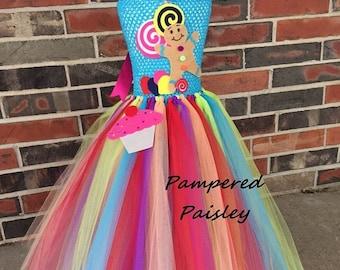 Halloween sale Candyland tutu, candyland dress, candyland Birthday, Candyland costume, 1st Birthday, Candy Land Birthday, Candy Land tutu