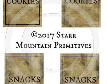 Primitive Cookie Cookies Snack Snacks Jar Label Jpeg Digital Pantry Crate Crock Canister Basket Labels