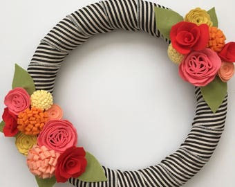 Bright Felt Flower Wreath, Summer Wreath, Black and  White Striped Ribbon, Red, Orange, Yellow, Coral - 14""