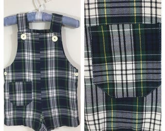 80s Baby Boy Blue and Green Plaid Baby Boy Short Overalls , Size 18 to 24 months