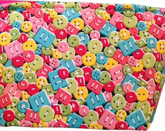 """Wedge """"Buttons & More Buttons"""" Cosmetic/Accessory Bag"""