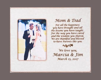 Wedding Gift Mom and Dad-Parents Wedding Gift-Bride and Groom Wedding-Gift to Parents-Personalized Wedding Picture Frame  8x10 Overall Size