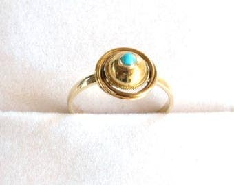 Turquoise and 14k Victorian Love Knot Ring