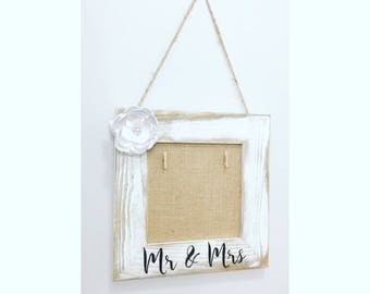 Shabby Chic Hand-painted Mr & Mrs Picture frame holder with silver pearl Fabric Flower