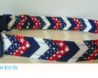 "Sale - 40% Off Dog Collar - Red, White & Blue Chervron Stars and Stripes -4th Of July ""Star Spangled"""