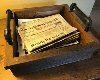 Newspaper-Magazine Tray, Industrial Style