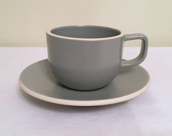Sasaki Mat Gray Cup With Saucer/Colorstone Cup by Vignelli Designs/ Gloss Finish/ Made in Japan/ Dishwasher & Microwave Safe/ Mint Cond