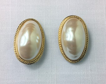 Givenchy Vintage Clip On Earrings/Bold Jewelry/Statement Earrings/Vintage Oval Clip Ons/Goldtone Oversized White Pearl Look/VGC