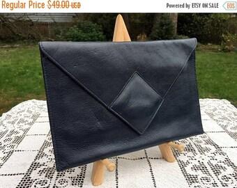 17% OFF SALE Black Navy Clutch/David Mehler Purse/DAME Envelope Purse/Leather Clutch/Snap Closure/Minimalist Handbag/11 x 7 x .25/Classic Le