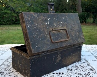 "17% OFF SALE Antique Tin Box/Primitive Black Box/Distressed Tool Box/Farm Lunch Box/Top Handle & Front Latch/10"" Metal Box/Rustic Industrial"