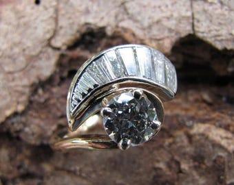 DEADsy LAST GASP SALE Hall of Mirrors : Half Carat Diamond Unique Engagement Ring, Euro Cut Antique Diamond Ring, Vintage Gold Engagement Ri