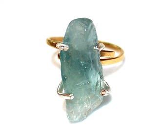 Blue Fluorite Shard Ring Fluorite Ring Mixed Metal Ring Adjustable Blue Ring Fluorite Jewelry Crystal Ring Raw Stone Ring Delicate Ring