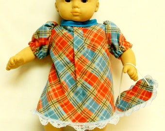Plaid Flannel Nightgown For 16 Inch Dolls Like The Bitty Baby