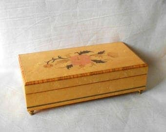CIJ SALE Vintage Birch Wood Jewelry Music Box Inlaid Flowers Made in Isle Isola di of Capri  Italy plays On the Street Where You Live
