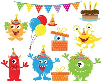 ON SALE INSTANT Download. Cute birthday monsters clip art. Cmb_2. Personal and commercial use.