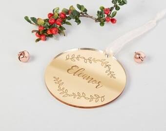 Personalised Botanical Christmas Bauble Gold