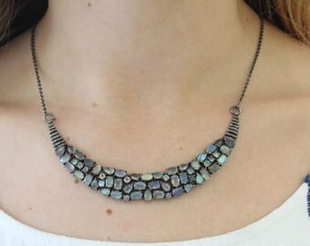 Pave Diamond Necklace, Pave Labradorite and Diamond Necklace w/Diamond Clasp, Adjustable to 16 and 18 inches, (DCH-046)