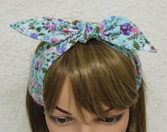 Tie up headband, floral headband, pin up style head scarf, 50s style hair scarf, rockabilly headband, hair care accessory, polycotton