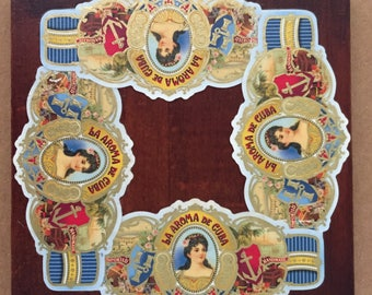 2017 Cigar Band Collage Coaster: Ltd. Ed. La Aroma Blue on Wood