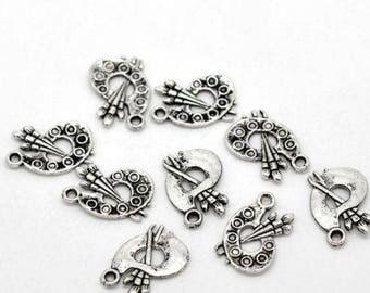 5 Pieces Antique Silver Palette Charms