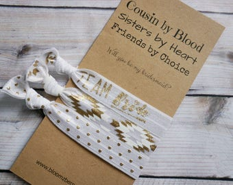 White/Gold  Bridesmaid Gift 3 pcs gift set -Cousins by Blood, Sisters by Heart- Bachelorette Party/ Wedding/Bridesmaid Gift/Party Favor