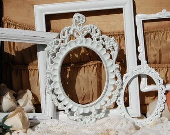 Shabby Chic Frames - Set Of 5 White Picture Frames - Picture Frame Collection - Custom Made Galley Frames