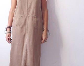 90s brown cotton midi dress sz med