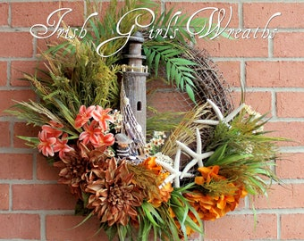 Rustic Lighthouse and Starfish Coastal Landscape Wreath, Nautical decor, Pelican, Beach Coastal Wreath, Tropical Palm & Lily Wreath