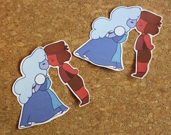 Hand-Cut Ruby/Sapphire Sticker - Steven Universe