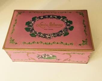 Vintage Louis Sherry New York Pink Tin Box Rectangular Tin Container Hinged Tin Box Vintage Tin Box