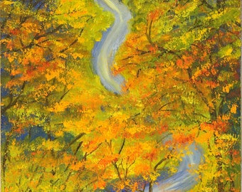 Oil painting, Original Art, Country road in Autumn, winding road