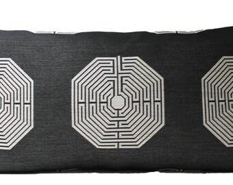 SALE! Decorative Designer Charcoal Grey Medallion,Chinoiserie Pillow Cover, Lumbar Throw Pillow