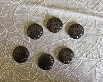 6 dark brown wooden buttons