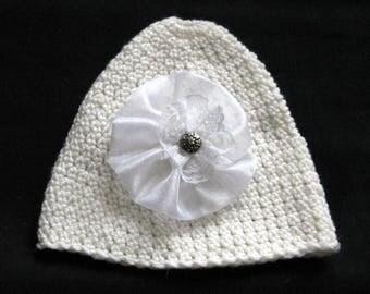 White crochet hat for women, winter hats women, beanie lace flower button