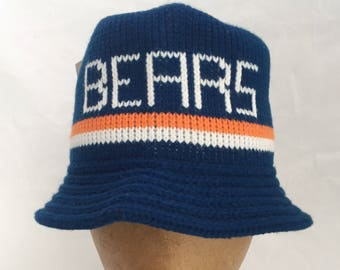 vintage chicago bears sweater bucket hat adult OSFA deadstock NWT 80s made in USA