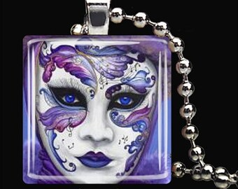 10% OFF JUNE SALE : Musical Theater Mask Purple Drama Theatre Glass Tile Pendant Necklace Keyring